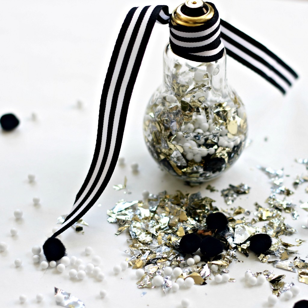This is our Bliss: DIY Foil Confetti & Pom-Pom Filled Light Bulb Ornament